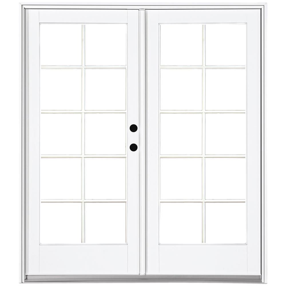 MP Doors 60 in. x 80 in. Fiberglass Smooth White Right-Hand Inswing Hinged Patio Door with 10-Lite SDL-HN5068R002D2 – The Home Depot
