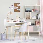 White desk in vintage style with 2 drawers, gray and pink   - Einrichtungen - #d...