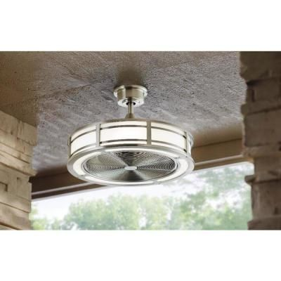 Home Decorators Collection Brette 23 in. LED Indoor/Outdoor Brushed Nickel Ceiling Fan with Light Kit with Remote Control-AM382A-BN – The Home Depot
