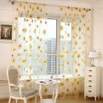 Window Curtain, Outgeek 2 Panels Floral Sunflower Sheers for Living Room Bedroom...