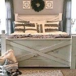THE YULEE barn door style storage bed frame