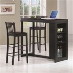 3 Piece Bar Table Set in Black Finish by Coaster - 101068