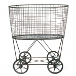 3R Studios Vintage Laundry Basket with Wheels - Walmart.com