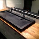 "47"" Black Granite Double trough Bathroom Sink - YATÉ SHADOW"