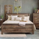 """54"""" Rustic Farmhouse Plank Panel Bed in Brown"""