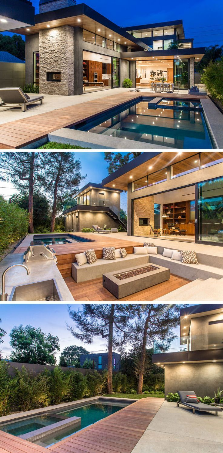 A New Contemporary Home Has A Backyard Guest Suite And A Sunken Outdoor Lounge