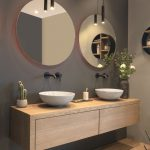 A customized, solid oak bathroom furniture. Combined with atmospheric LoooX lamp...