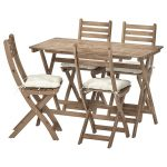 ASKHOLMEN Table and 4 folding chairs, outdoor - gray-brown stained, Kuddarna beige - IKEA