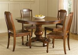 Americana Round Pedestal Table 5 Piece Dining Set in Chestnut Finish by Liberty Furniture – 206-T4860