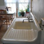Antique white porcelain cast iron kitchen sink with double drainboard #AmericanR...