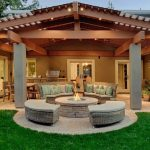 Architecture Covered Patio Plans Traditional With Wood Post Stone Fire Within Pi...
