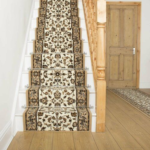 Astoria Grand Addington Tufted Beige/Brown Stair Runner | Wayfair.co.uk