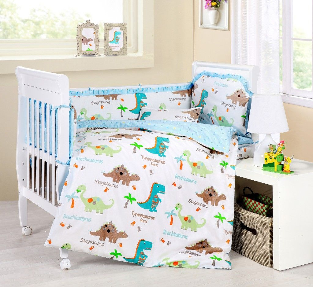 Baby Bedding Crib Cot Sets – 9 Piece Cute Dinosaurs Theme. RRP $150