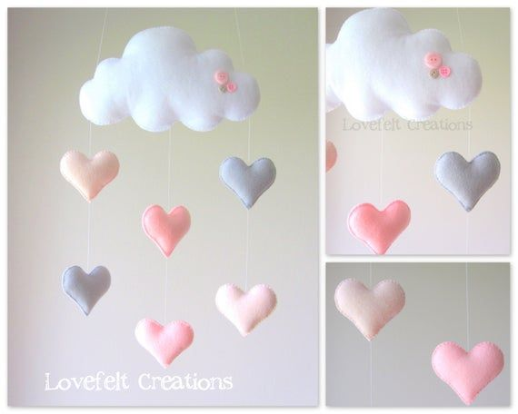 Baby mobile – Heart mobile – cloud mobile – pink and gray mobile