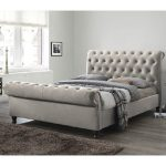 Balmoral Fabric Super King Size Bed In Champagne With Dark Feet | Furniture in Fashion