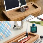 Bamboo Wooden Office Desk Stationery Organizer Tray Pen Pencil Holder Stand iPho...