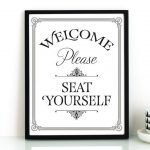 Bathroom wall art, PRINTABLE art, Please seat yourself sign, Bathroom art, Restaurant decor, Funny bathroom prints, Kids bathroom art