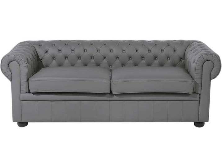 Beliani Sofa Leder grau CHESTERFIELD