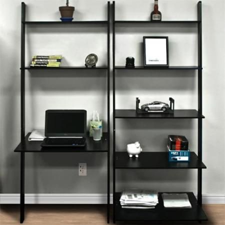 Best Choice Products 7-Shelf Leaning Bookcase and Computer Desk for Home and Ofice Furniture – Black – Walmart.com