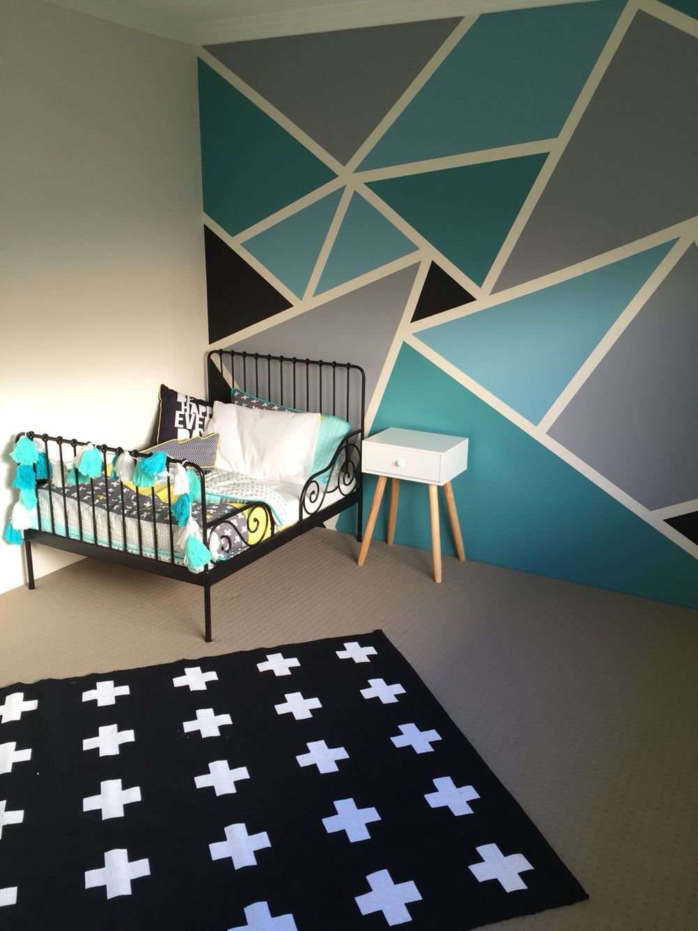 Big boys bedroom withal the IKEA minnen toddler bed frame, Adairs linen and a fu…