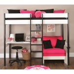 Black And White Girls Bunk Bed With Pink Futon Sofa Bed As Well As Bed With Desk...