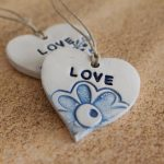 Blue decorations Love ornament Word decor Personalized Ornament Baby shower Heart Ornament Custom Word Baby Name ornament Ceramic ornament