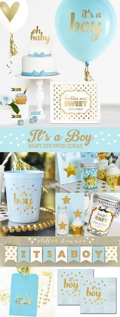 Boy Baby Shower Gift Boy – New Baby Boy Gift – Its a Boy Gift – Blue and Gold Baby Shower for Boy Decor (EB3110BBY) -SET of 3 Balloons