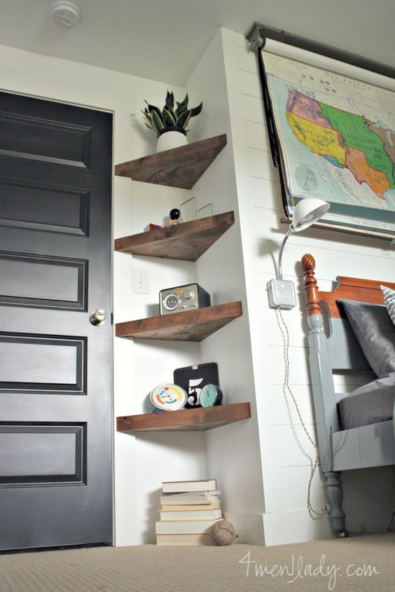 Boy's bedroom ideas, Before and After, Plank Wall, Floating Shelves, DIY, Be…