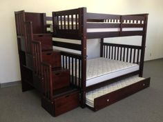 Bunk Beds Full over Full Stairway Cappuccino + Trundle