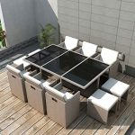 Buy Festnight 11 Pieces Outdoor Patio Dining Set Poly Rattan Glass Top Dining Ta...