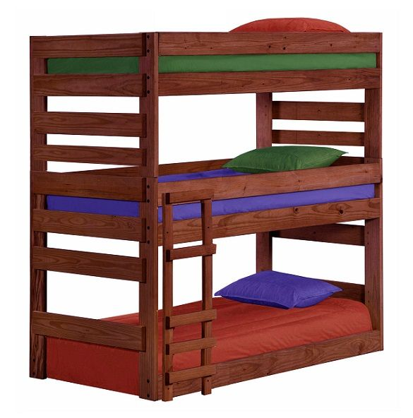 Cass County Mahogany Twin XL 3 Bed Bunk Bed