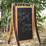 Chalkboard Sign with Wine Barrel Staves