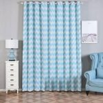 Chevron Blackout Curtains | 2 Packs | White & Baby Blue Blackout Curtains | 52 x 108 Inch Grommet Curtains | Soundproof Velvet Curtains
