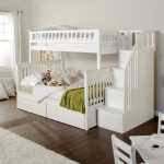 Columbia Staircase Bunk Bed Twin over Full with 2 Raised Panel Bed Drawers in White - Walmart.com