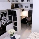 Contemporary super small home office filled with IKEA's furniture. #Homeofficeid...