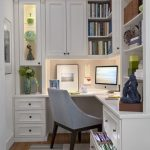 Corner Computer Desk and White Wall Bookshelf Cabinets in Small Modern Home Offi...