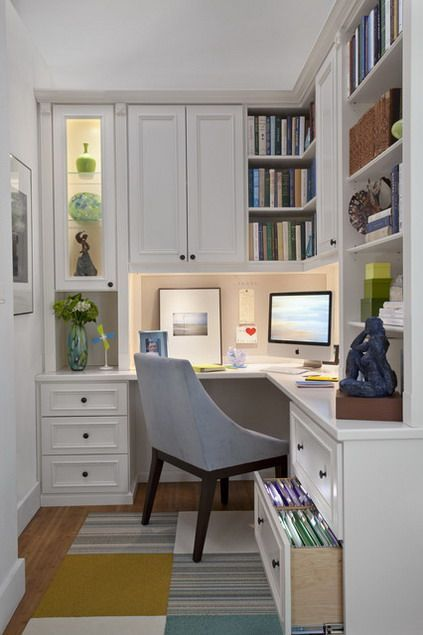 Corner Computer Desk and White Wall Bookshelf Cabinets in Small Modern Home Offi…