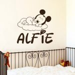 Cute Mickey MOuse Head Art Patterned Wall Stickers Home Nursery Room Customed Name Sweet Decorative Vinyl Wall Stickers Wm-361 - Pixdora