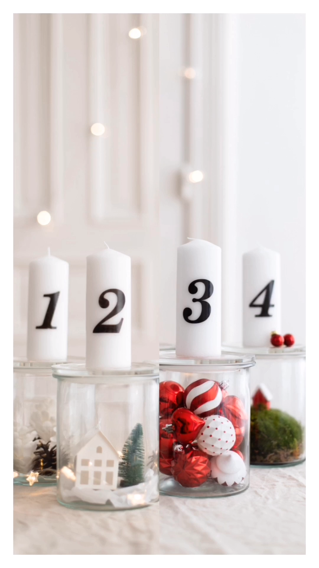 DIY Advent glasses – one idea, two styles Artificial fir tree as Christmas decor…