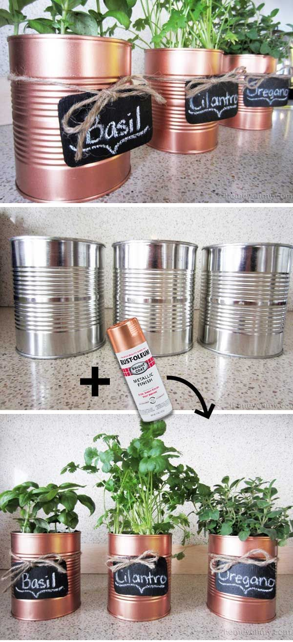 DIY Copper Tin Can Planters and Chalkboard Tags – Homey Oh My