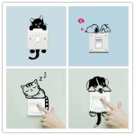 DIY Funny Cute Sleeping Cat Dog Switch Stickers Wall Stickers Decals Home Decoration Bedroom Living Room Parlor Decoration I www.hotdealsgalore.com
