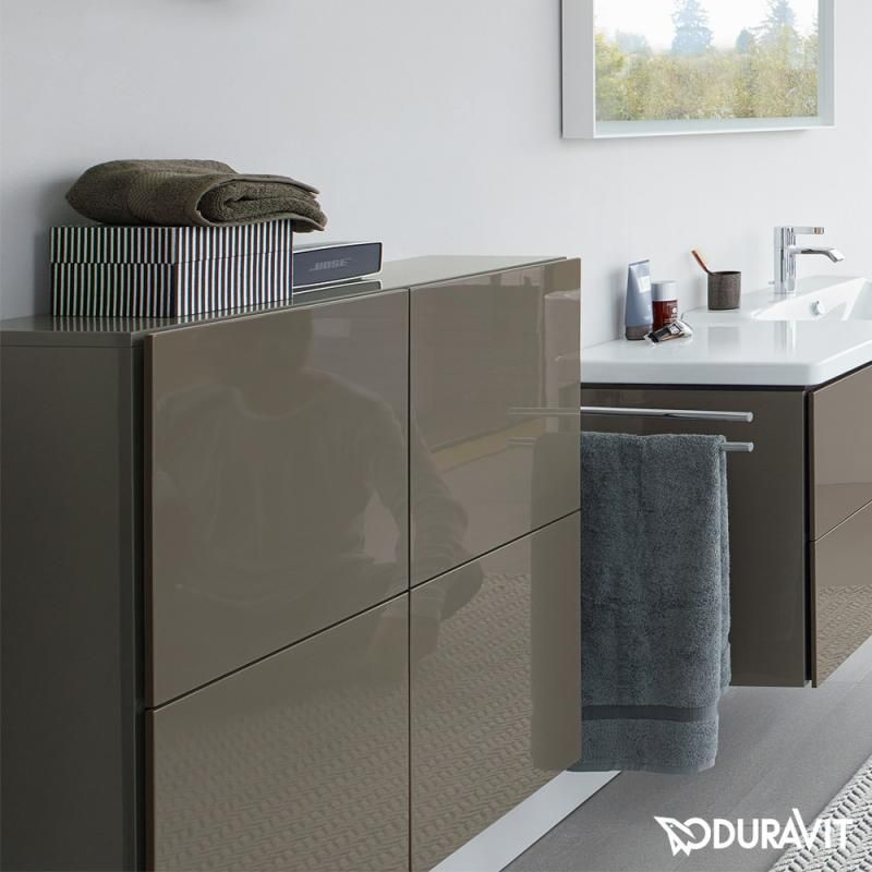 DURAVIT LC1177 L-CUBE 27-1/2 X 14-1/3 INCH SEMI-TALL CABINET WITH TWO DOORS AND ONE GLASS SHELF