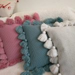 """Decorative tassel pillow knitted cushion cover/PINK GREEN BEIGE pillow case/throw pillow cushion shell 18x18"""" - Noor - BuyThenNow"""