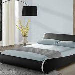 Designer Double Bed Frame or King Size Faux Leather Black White Memory Mattress  | eBay