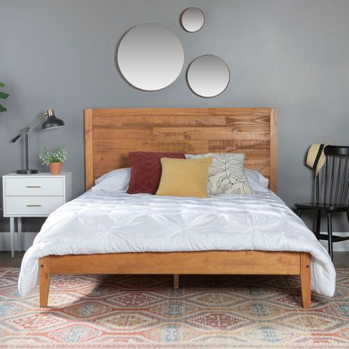 Distressed Caramel Wooden Queen Bed