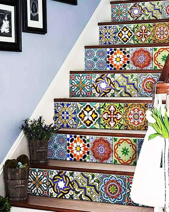 Door decals  stairs decals Units Kitchen Tile Sticker Set decals Tiles for Bathroom home decor authentic Spanish ancient tile AB2