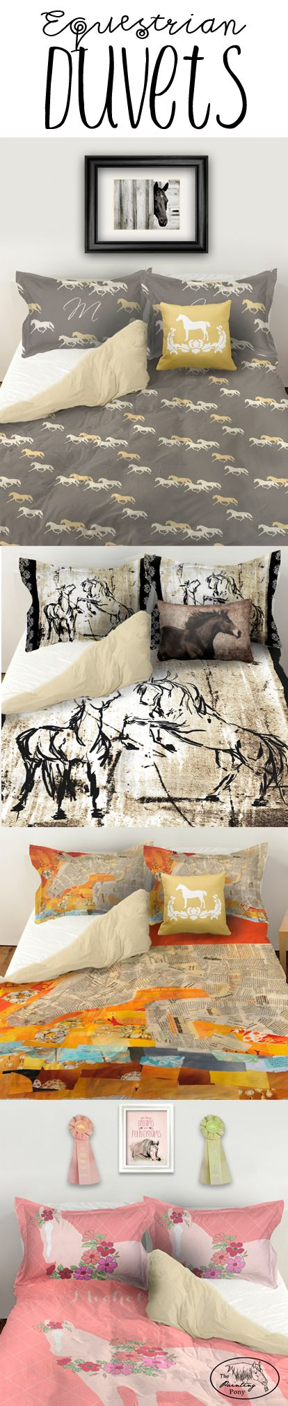 Duvet Bedding sets for the equestrian horse lover's bedroom decor. Available in …