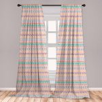 """East Urban Home Ambesonne Orange And Pink Curtains, Hand Drawn Design With Timeless Triangle And Arrow Motifs, Window Treatments 2 Panel Set For Living Room Bedroom Decor, 56"""" X 84"""", Multicolor 