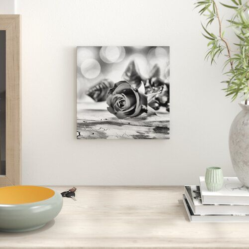 East Urban Home Elegant Rose on an Old Wooden Table Art Print on Canvas   Wayfair.co.uk