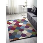 Ebern Designs Few Hexagon Funky Wool Blue Rug | Wayfair.co.uk